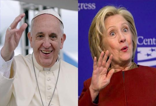 pope francis hillary clinton