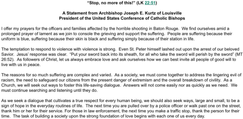 LEO ASSASSINATIONS USCCB STATEMENT