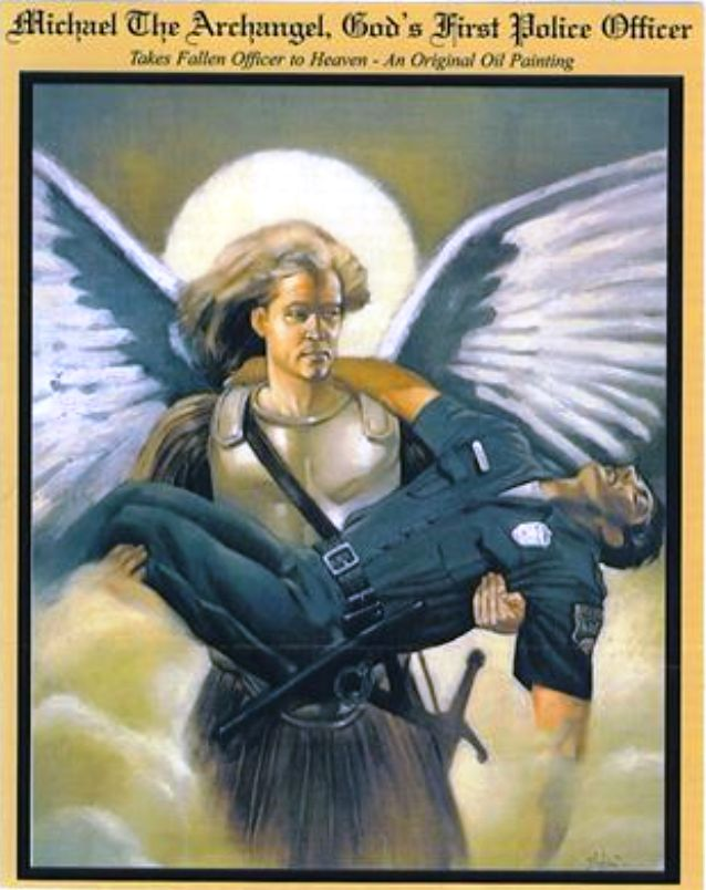saint Michael carries police officer to heaven