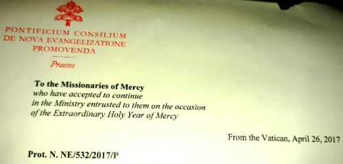 Missionaries of Mercy reconfirmation