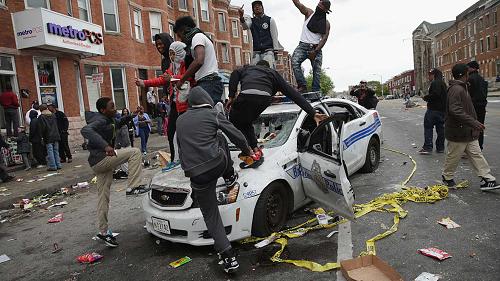 black lives matter police car