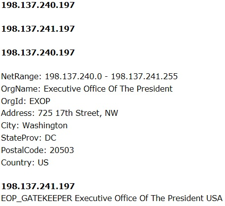 POTUS Executive Office Robert blog visit HSH tracking