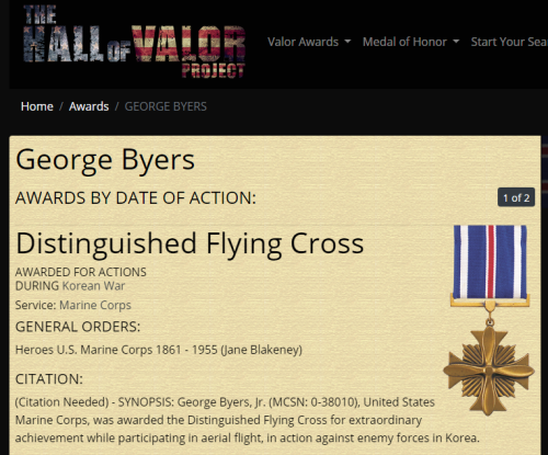 George Byers Jr Distinguished Flying Cross 1
