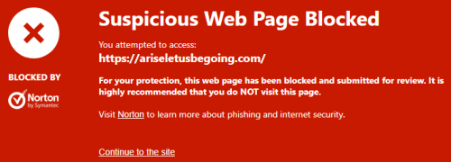 suspicious web page blocked