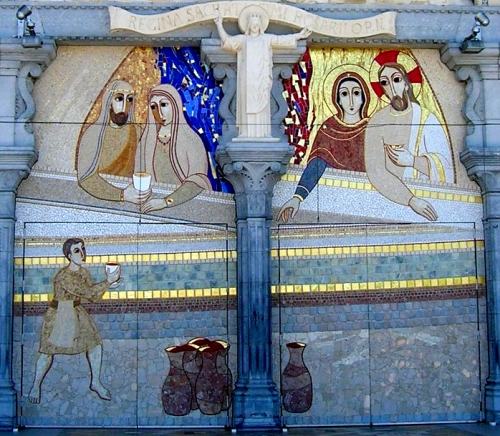 wedding of cana mosaic lourdes rosary basilica doors