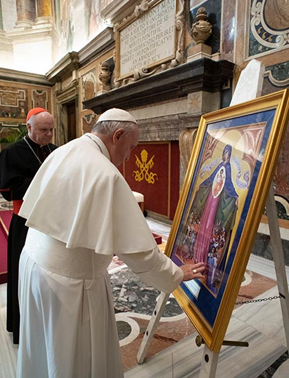 our lady help of persecuted christians icon pope francis