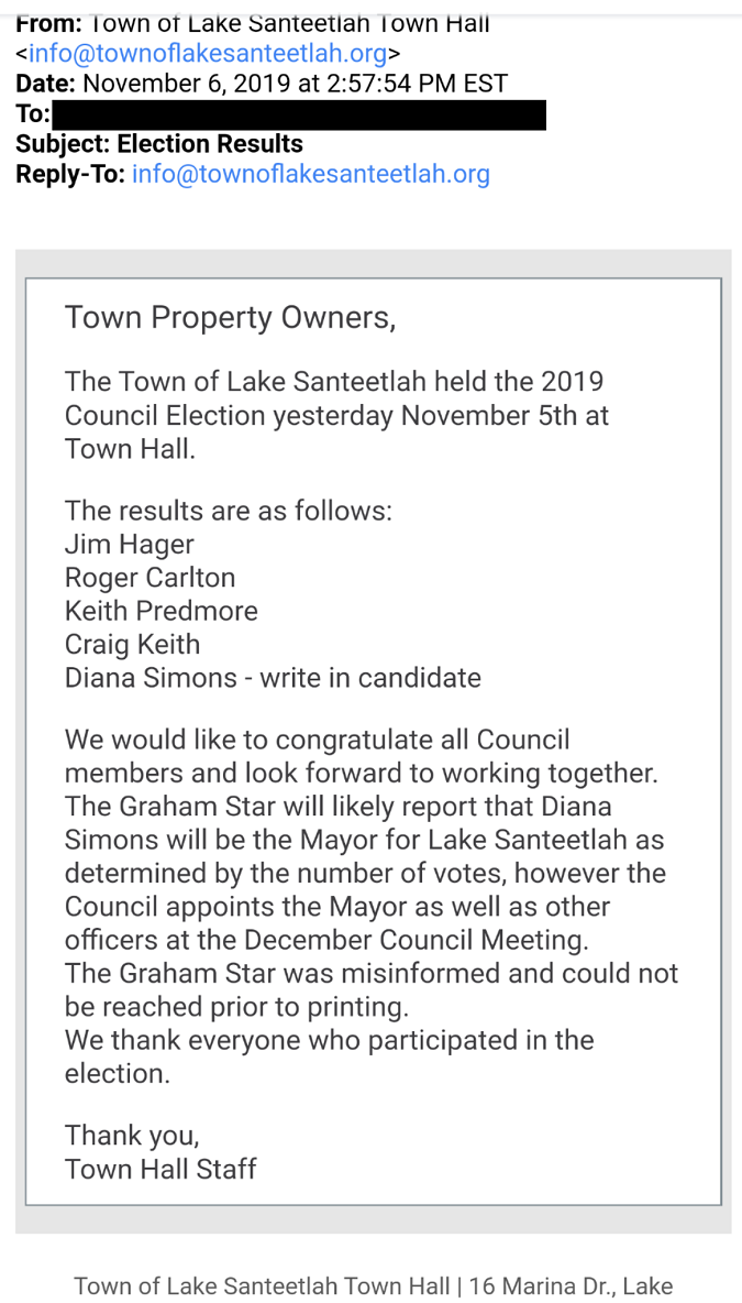 Town of Lake Santeetlah Election