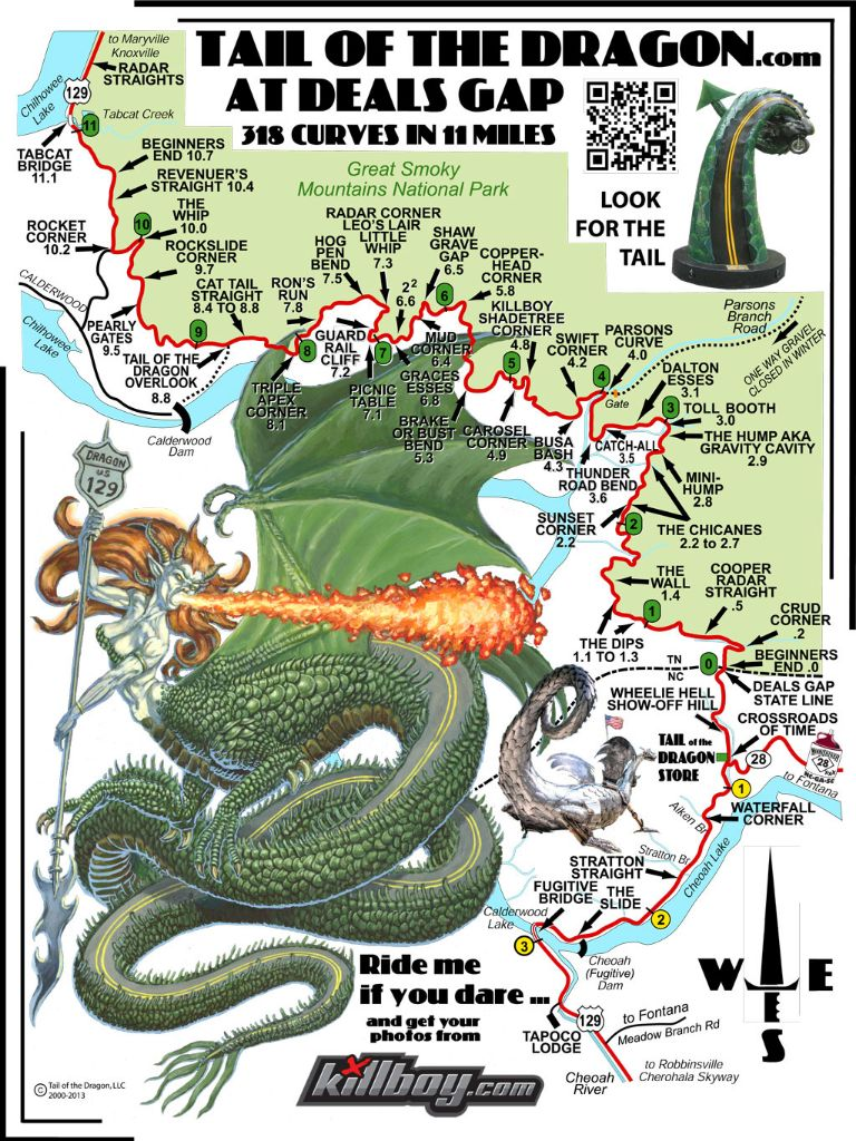 Tail of the Dragon road map names